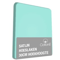 Hoeslaken satijn mint