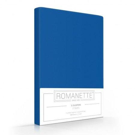 Romanette Kussenslopen Katoen Kobalt Blauw (2 Stuks)