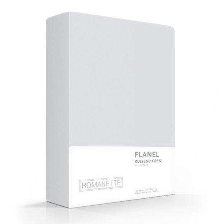 Romanette Kussenslopen Flanel Silver (Grijs) (2 Stuks)