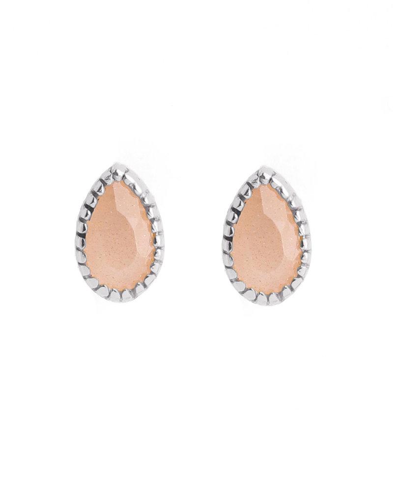 Muja Juma Earring stud drop peach moonstone