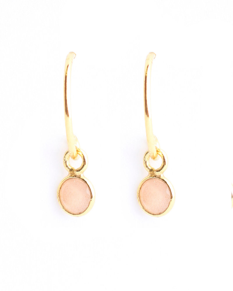 Earring pink calcedonite 4mm pendant gold plated