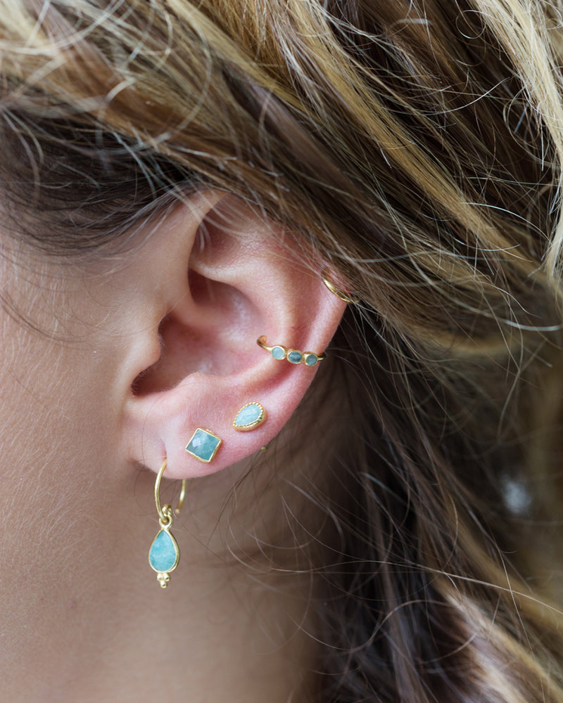 Muja Juma Ear cuff amazonite gold plated