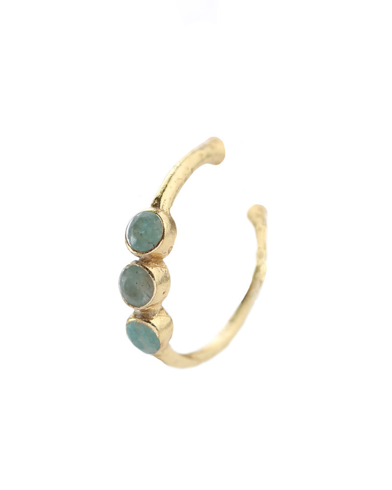 Muja Juma Ear cuff amazonite gold plated