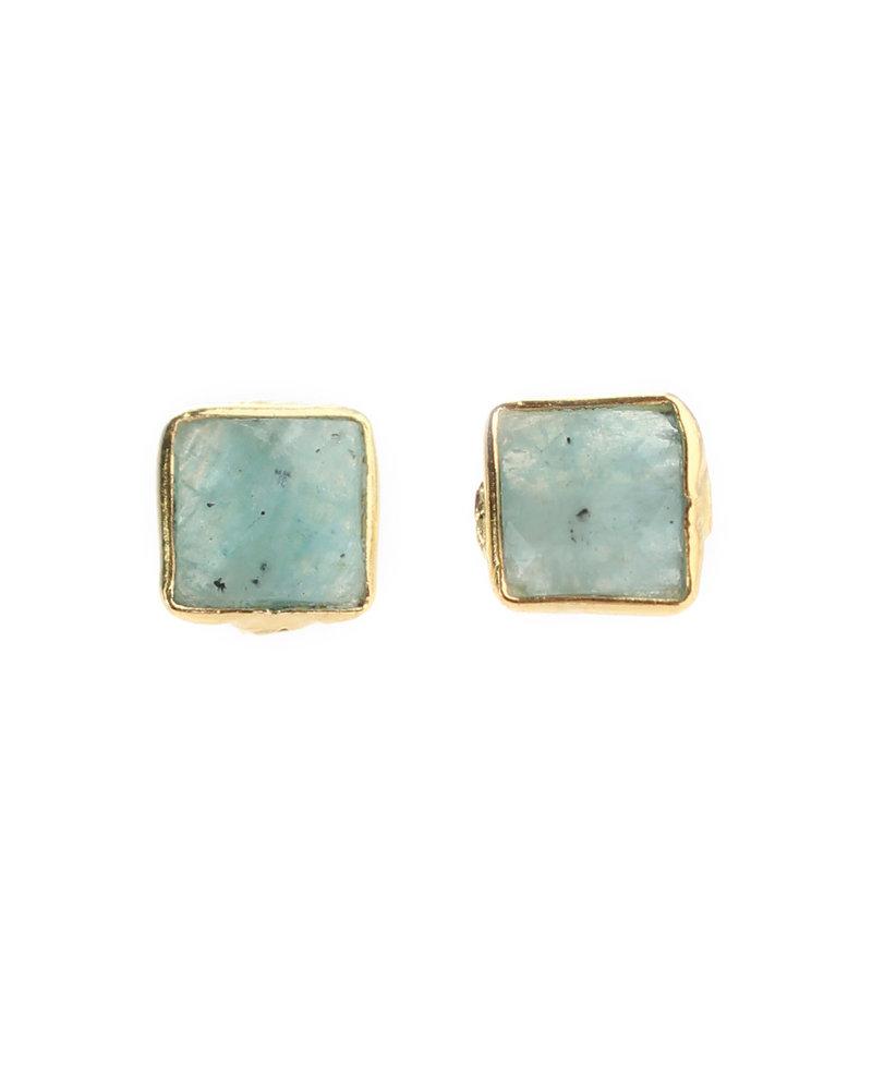 Muja Juma Earring square amazonite gold plated