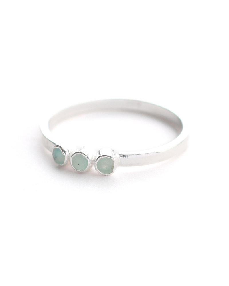 Muja Juma Ring size 54 three stones amazonite