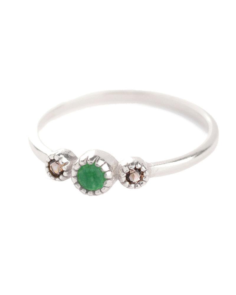 Ring size 52 green zed / smokey quartz