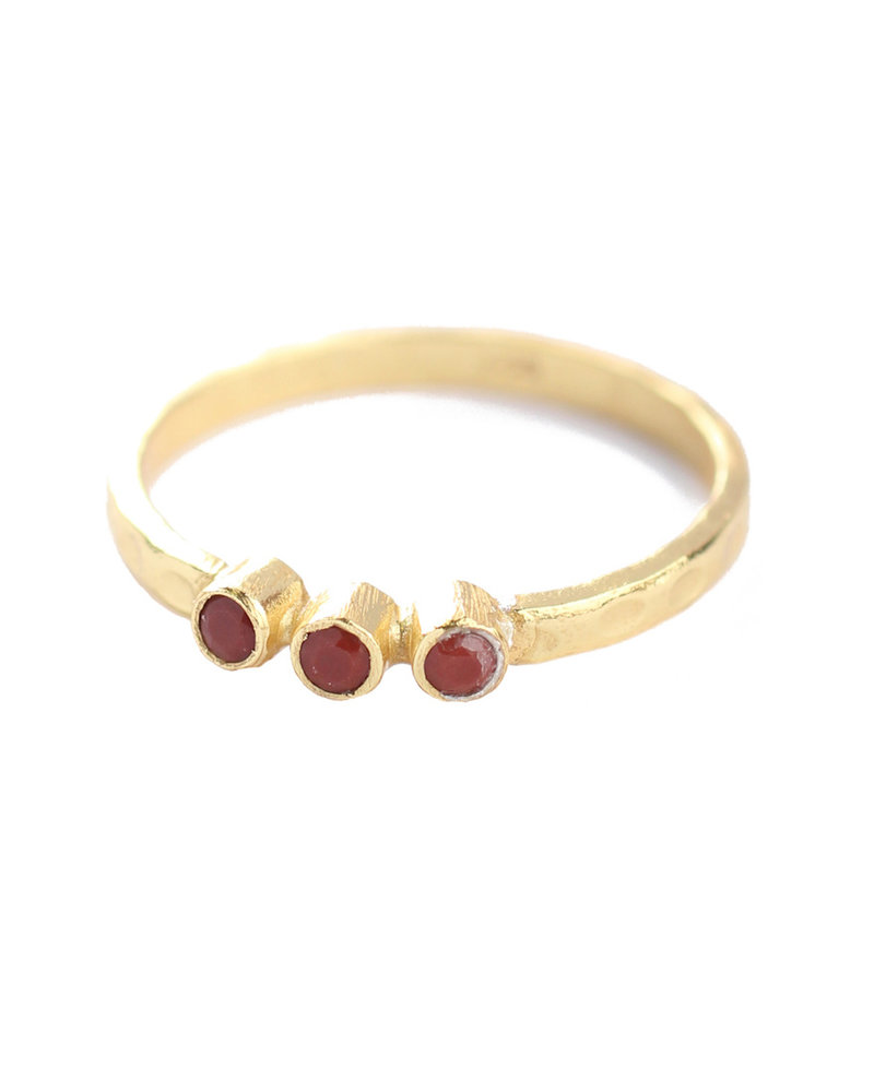 Muja Juma Ring size 52 three stones gold plated with red jasper