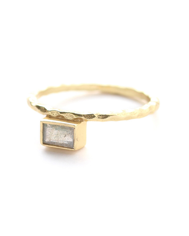 Muja Juma Ring size 56 stacked gold plated with labradorite
