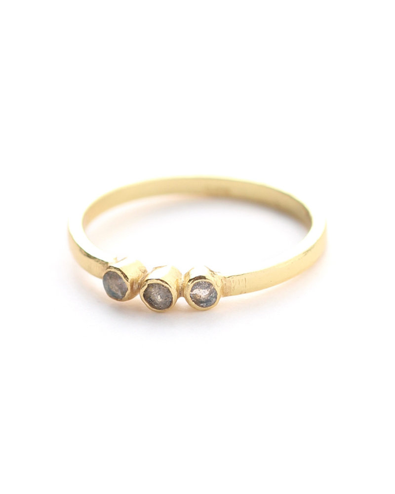 Muja Juma Ring size 54 three stones gold plated with labradorite
