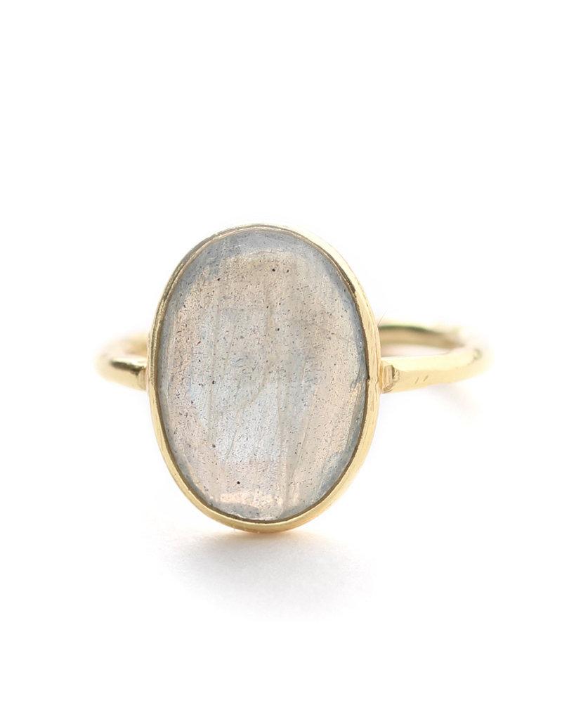 Muja Juma Ring size 52 big oval gold plated with labradorite