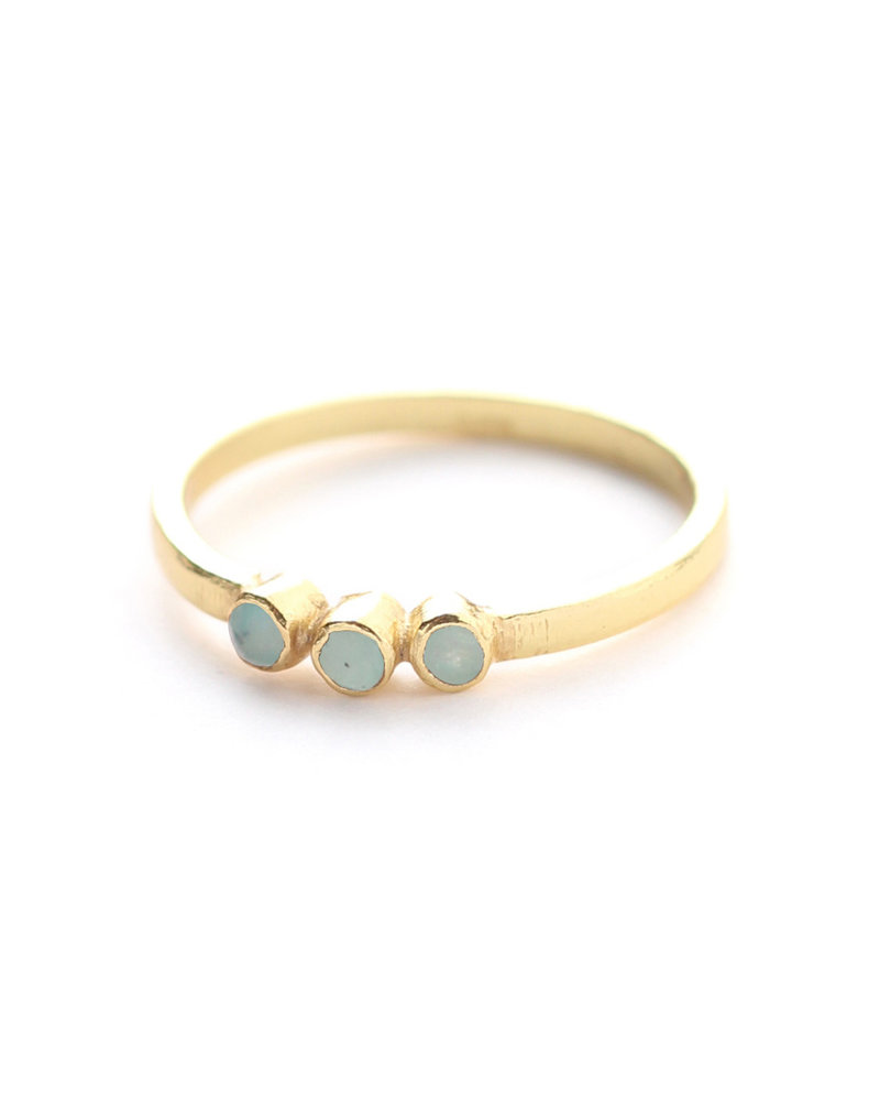 Muja Juma Ring size 56 three stones gold plated with amazonite