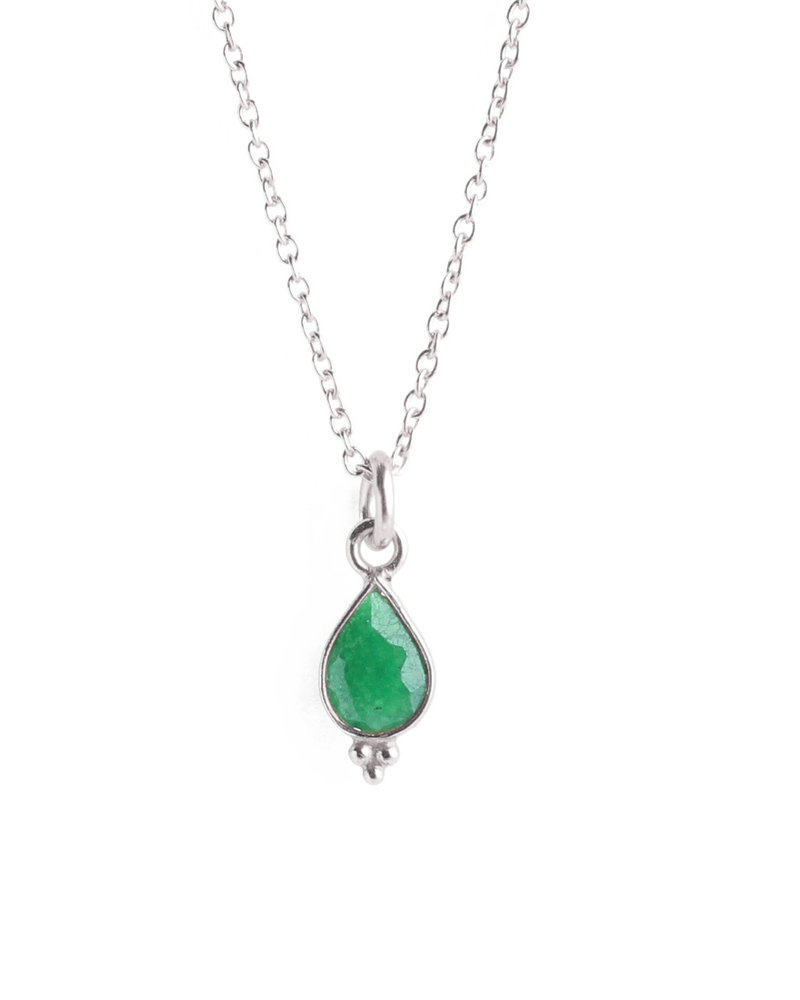 Muja Juma Necklace drop three balls silver with green zed