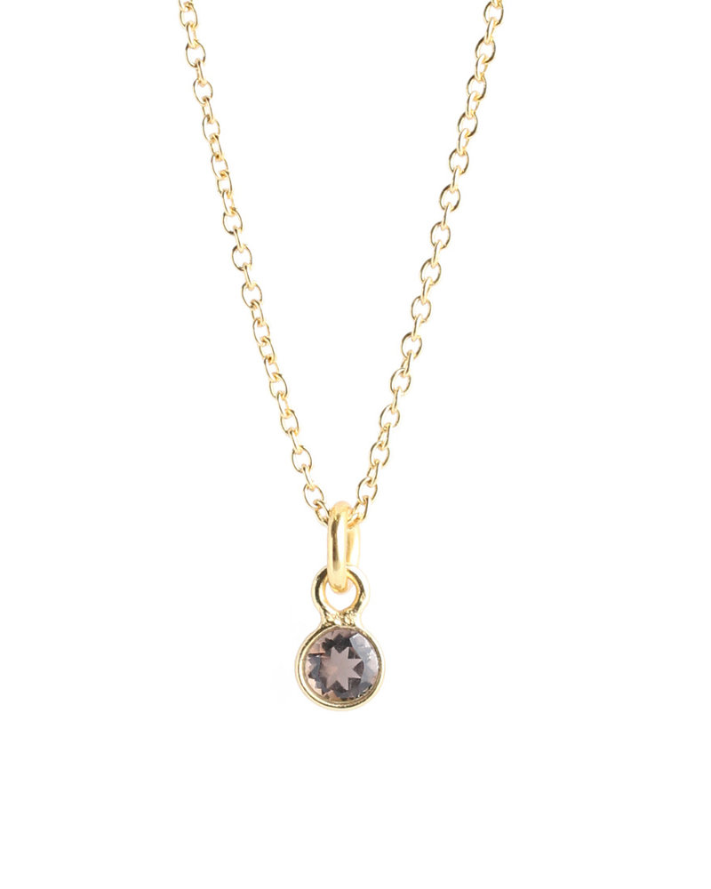 Muja Juma Necklace tiny round pendant gold plated with smokey quartz