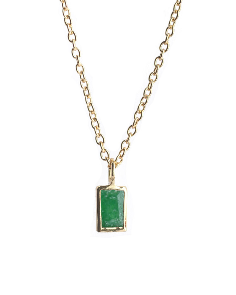 Muja Juma Neckace oblong gold plated with green zed