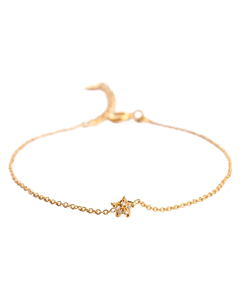 Muja Juma Bracelet star gold plated with white zircon