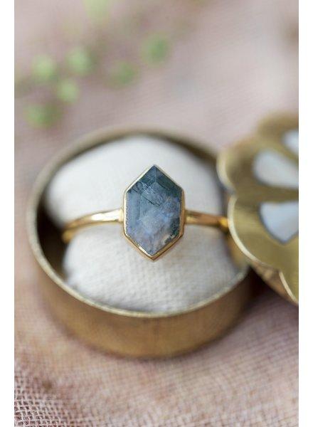 Muja Juma Ring Fancy Diamond Moss agate
