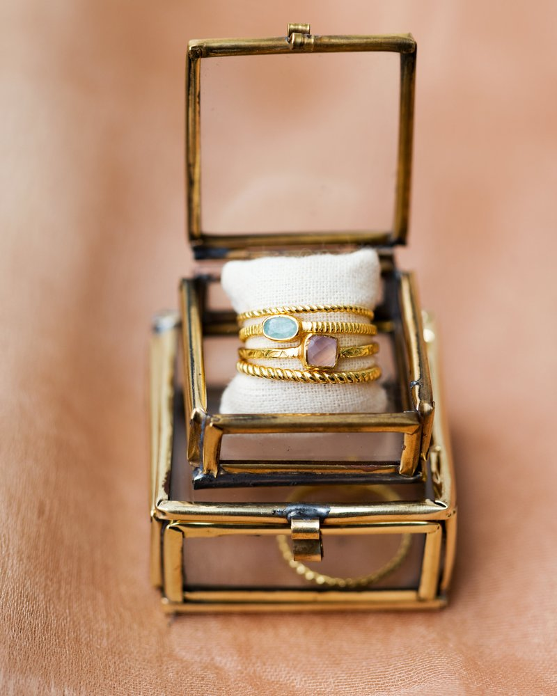 Muja Juma Ring Square Stone gold plated 925 sterling Silver