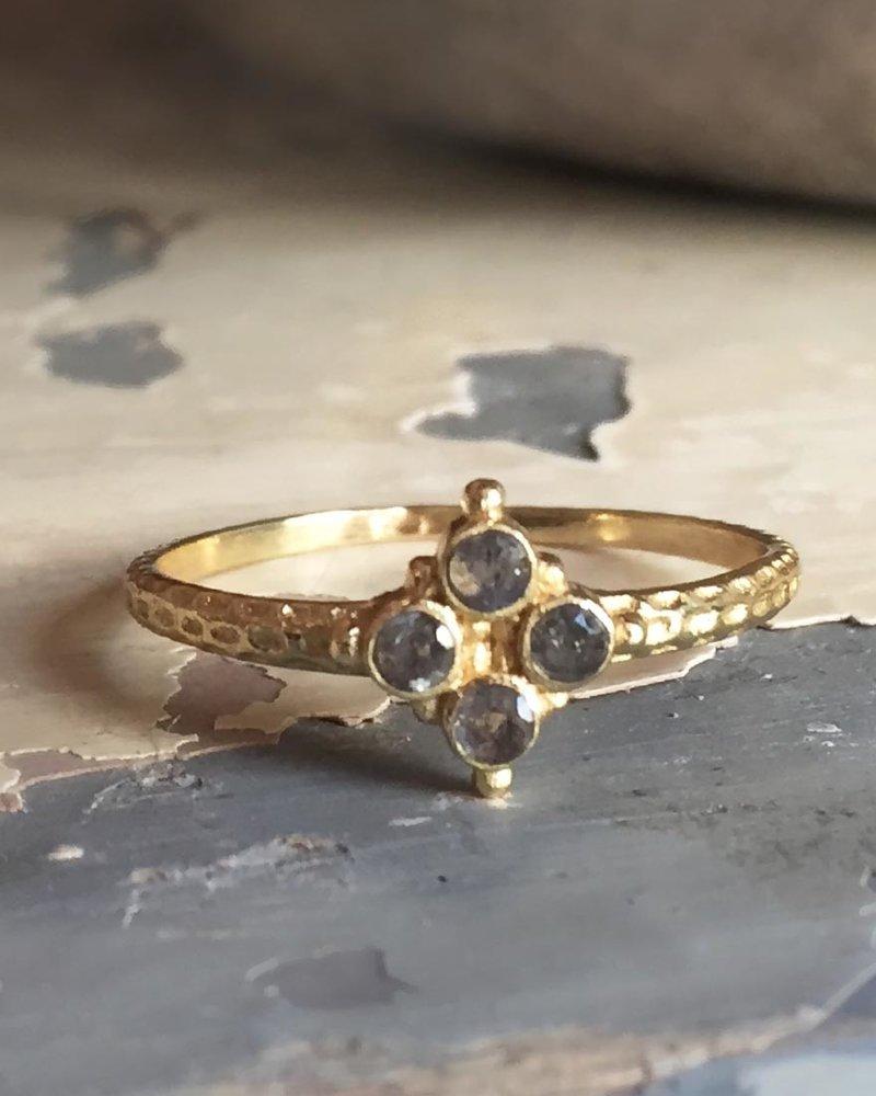 Muja Juma Ring vergoldetes 925er Sterlingsilber mit Labradorite