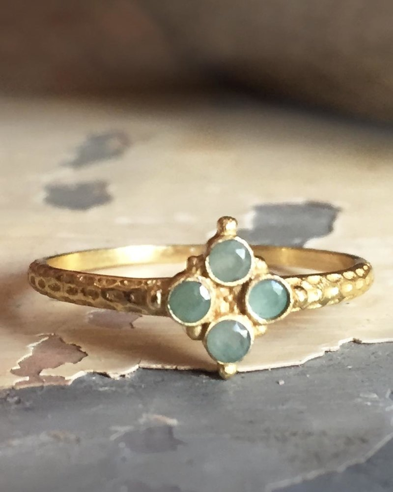 Muja Juma Ring  gold plated 925 sterling silver with Amazonite