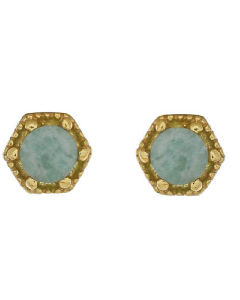 Muja Juma Earring Amazonite Hexagon 925 sterling silver with goldplating