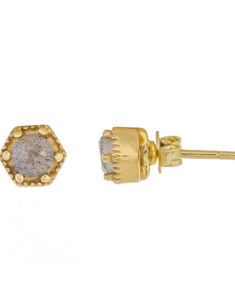 Muja Juma Earring Labradorite Hexagon 925 sterling silver with goldplating