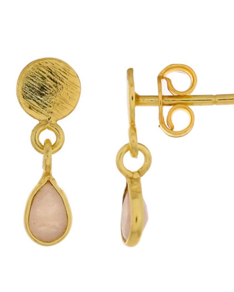 Muja Juma Earring Peach Moonstone drop stud 925 sterling silver goldplated