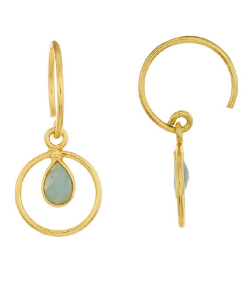 Muja Juma Earring Amazonite Geo round  925 sterling silver with goldplating
