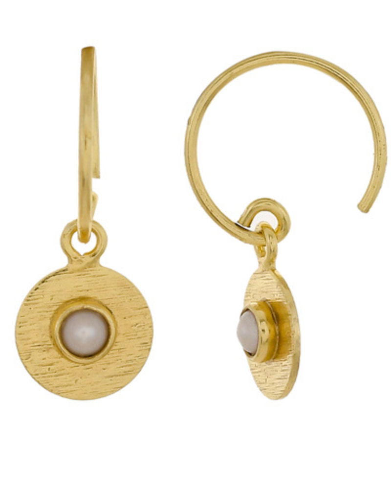 Muja Juma Earring Coin with sweet water  pearl