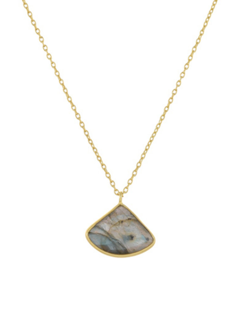 Muja Juma Halskette Fancy Labradorite vergoldet 925 Sterling Silber
