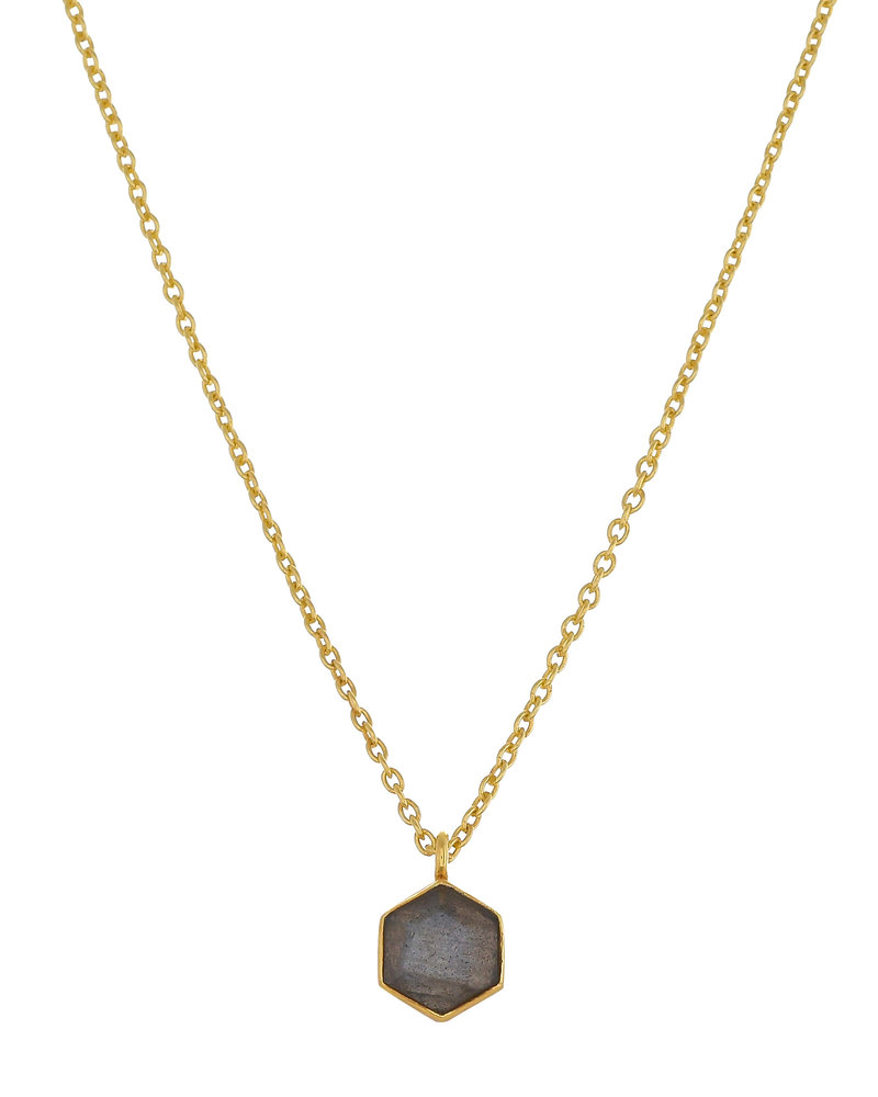 Muja Juma Necklace Labradorite  Hexagon 6mm goldplated 925 sterling silver