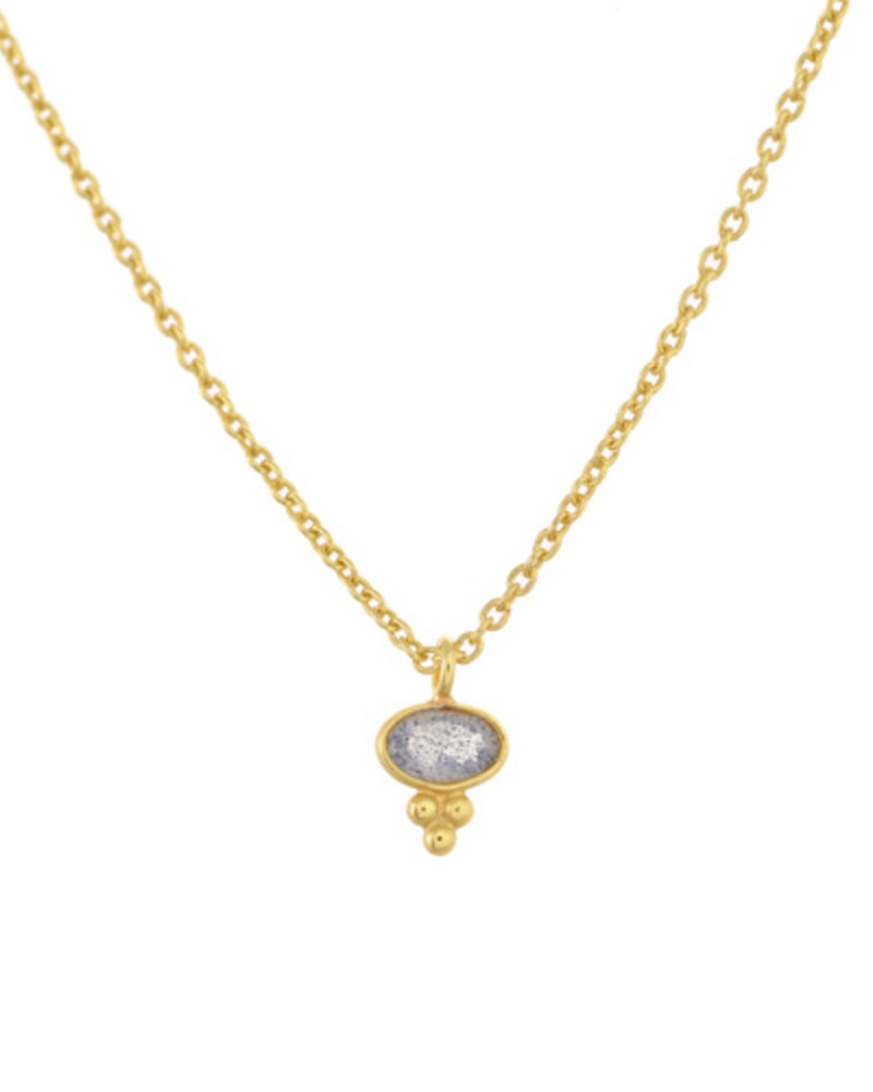Muja Juma Necklace Labradorite Etnic oval gold plated 925 sterling silver