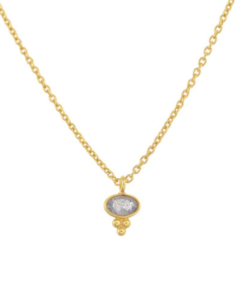 Muja Juma Necklace Labradorite  Etnic oval goldplated 925 sterling silver