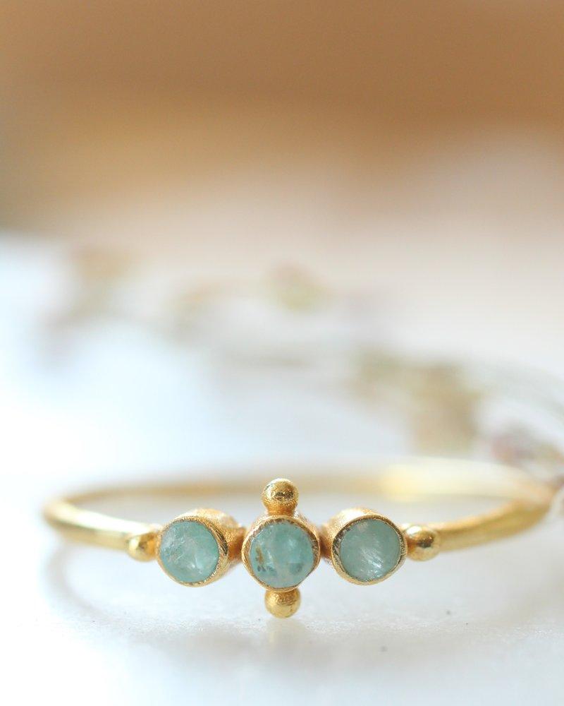 Muja Juma Ring sweet sweet amazonite gold plated 925 Sterling Silver