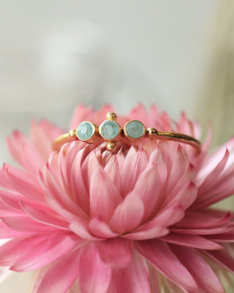 Muja Juma Ring  amazonite vergoldet 925 Sterling Silber