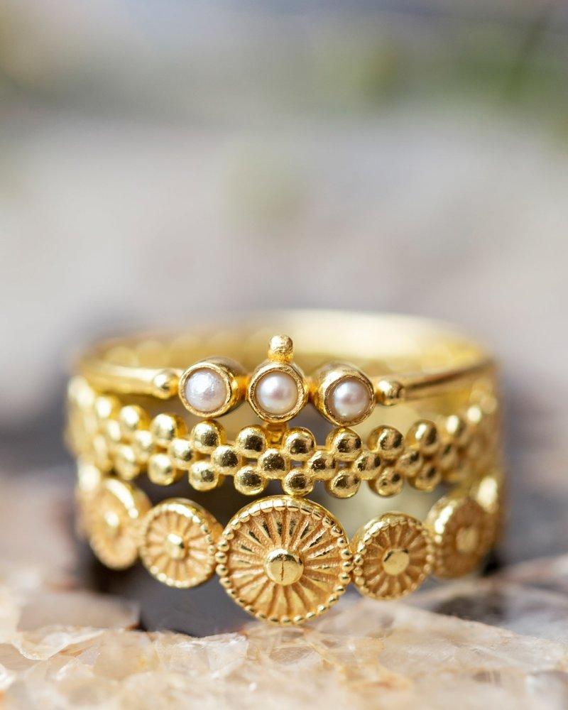 Muja Juma Ring Flat wheels gold plated 925 Sterling Silver