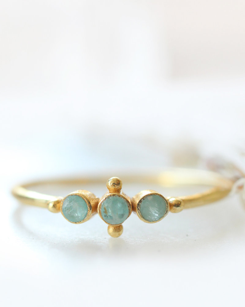 Muja Juma Ring sweet sweet amazonite gold plated 925 Sterling Silver