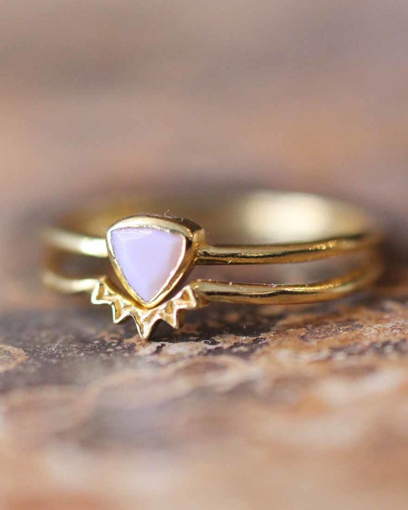 Muja Juma Ring gold plated 925 sterling silver with Pink opal