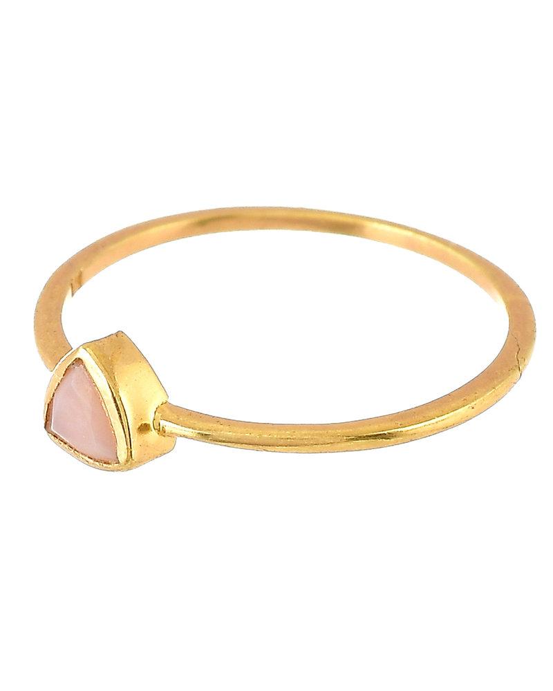 Muja Juma Ring vergoldetes 925er Sterlingsilber mit Pink opal