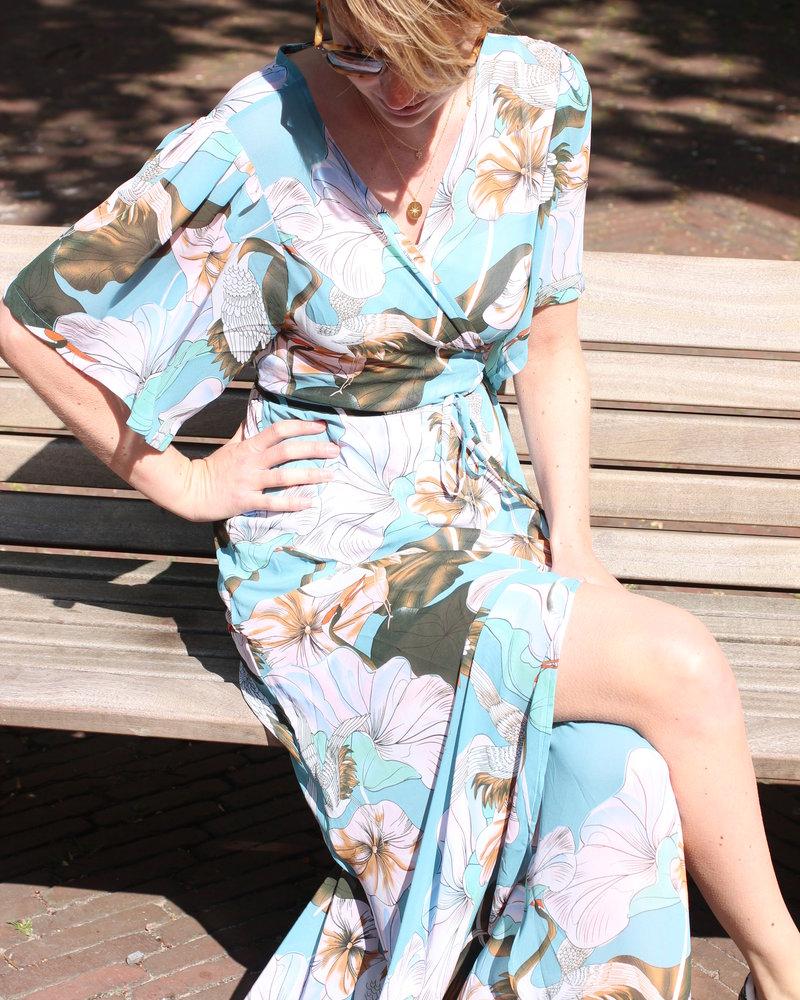 Muja Juma Kimono Wickelkleid blaue Kraniche