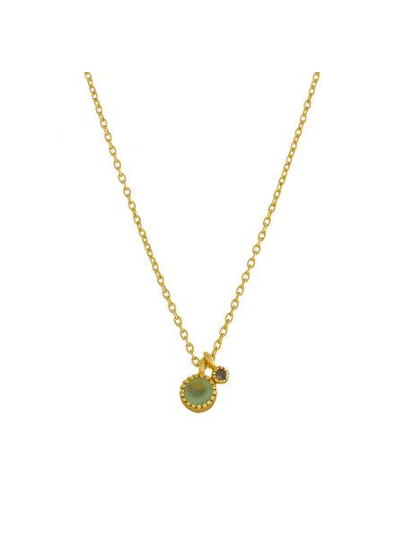 Muja Juma Necklace round Nefrite/ Labradorite  pendant