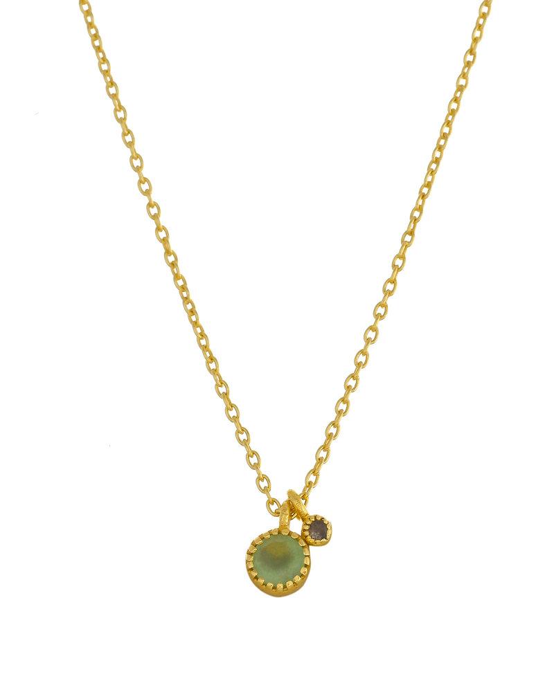 Muja Juma Halskette rund Nefrite mit 2mm Labradorite vergoldet 925 Sterling Silber