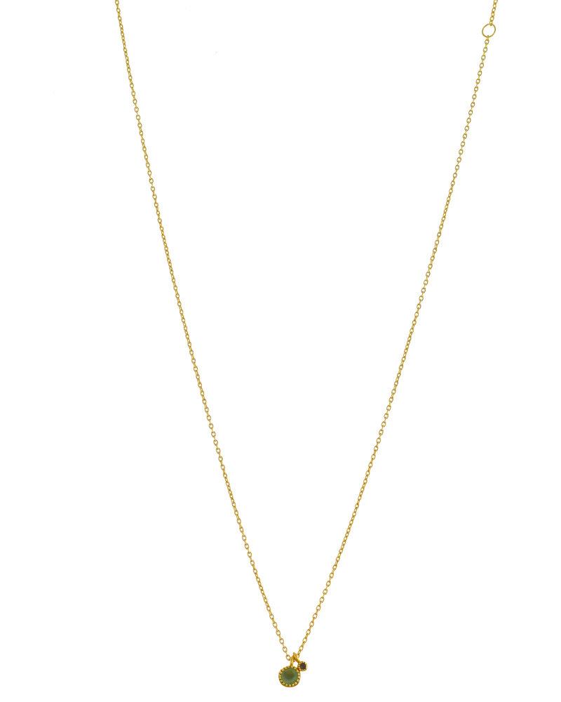 Muja Juma Necklace round nefrite with 2mm Labradorite  pendant goldplated