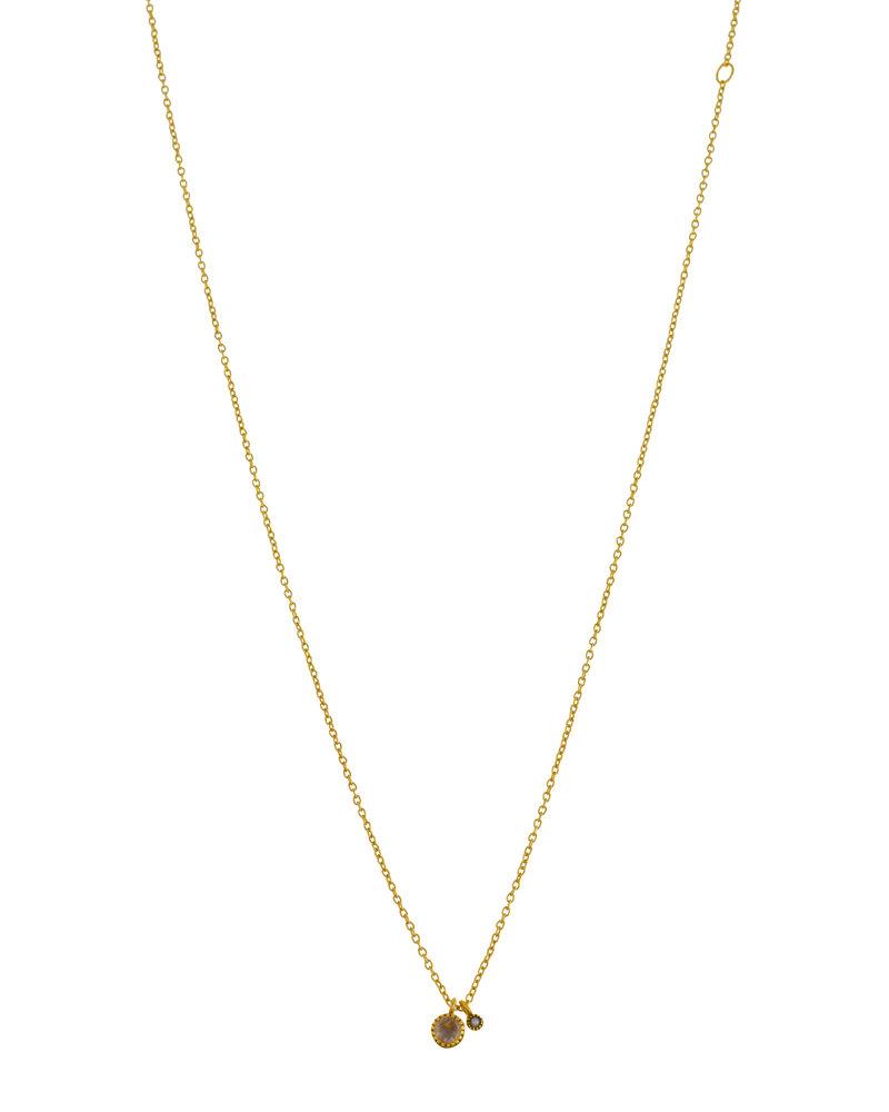 Muja Juma Halskette rund Moonstein mit 2mm Perle vergoldet 925 Sterling Silber