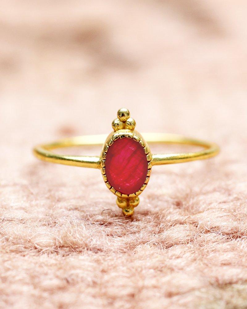 Muja Juma Ring gold plated Ruby