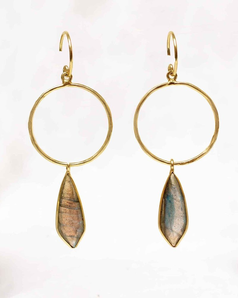 Muja Juma Earring Fancy Labradorite  925 sterling silver with goldplating