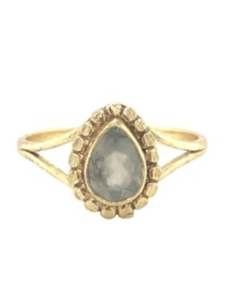 Muja Juma Ring  gold plated 925 sterling silver with Prenite