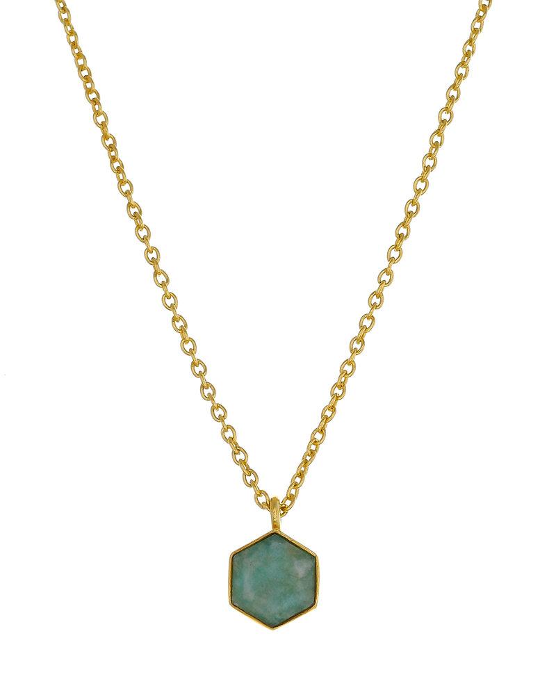 Muja Juma Necklace hexagon amazonite round nefrite  goldplated
