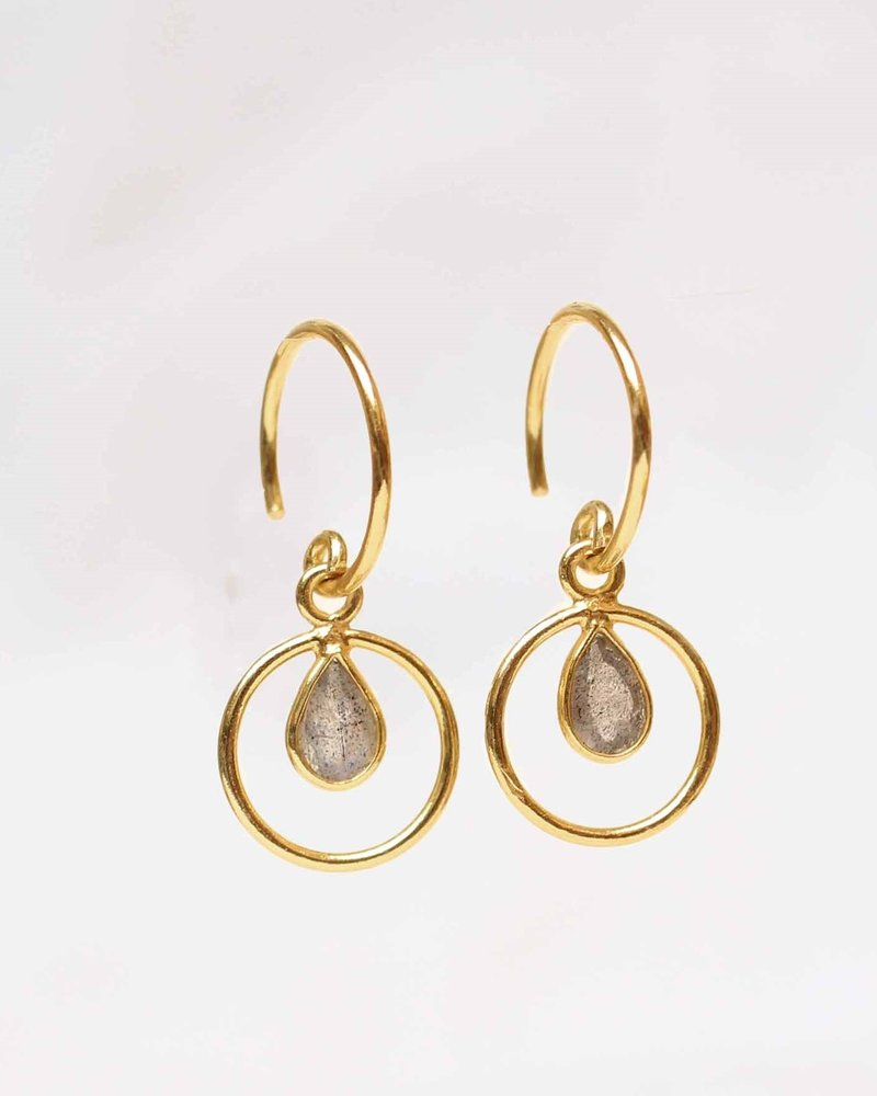 Muja Juma Earring Labradorite Geo round 925 sterling silver with gold plating - Copy