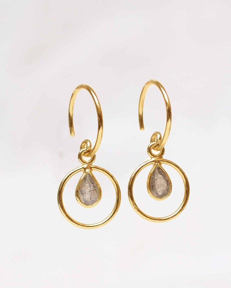 Muja Juma Earring Labradorite Geo round  925 sterling silver with goldplating  - Copy