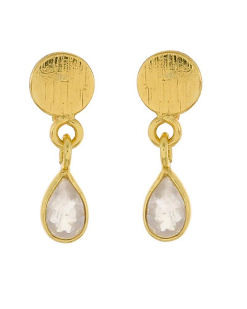 Muja Juma Earring Moonstone drop stud 925 sterling silver goldplated